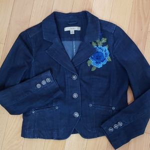 Motto Dark Denim Jacket with Blue Rose Size 8